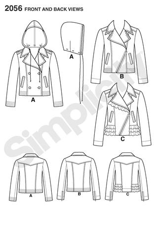 Simplicity 2056 Misses Jacket with front variations and detachable hood