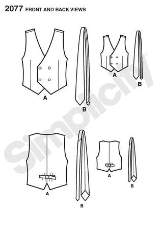 Simplicity 2077 Boys and Mens Vest and Tie