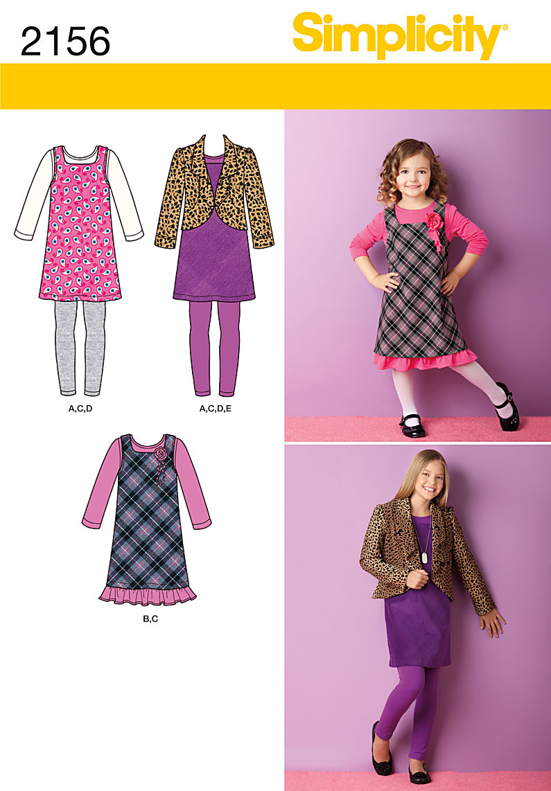 Simplicity 2156 Girls Jumper, Jacket, Leggings, Dress and Top