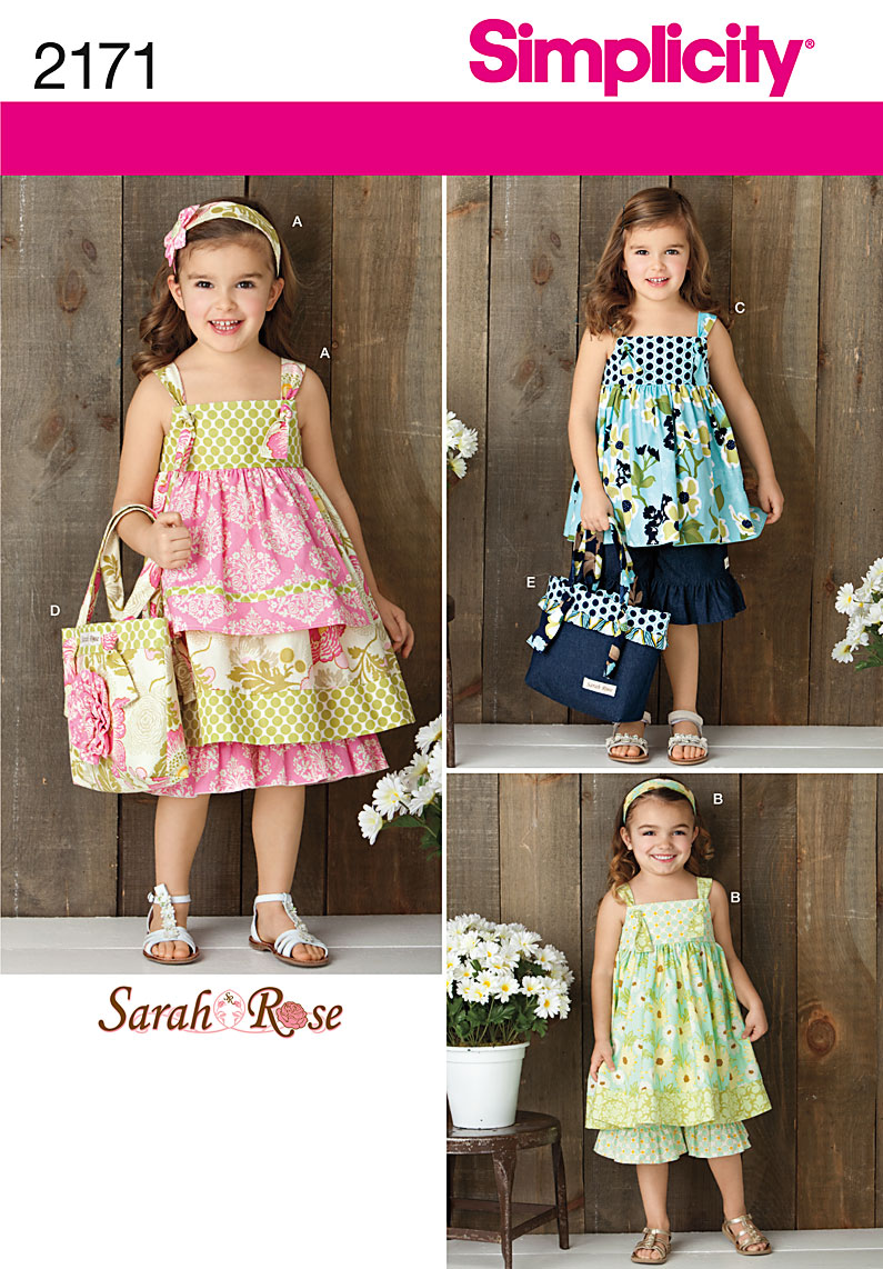 Simplicity 2171 child's dress, top,pants, bag and hair accessory