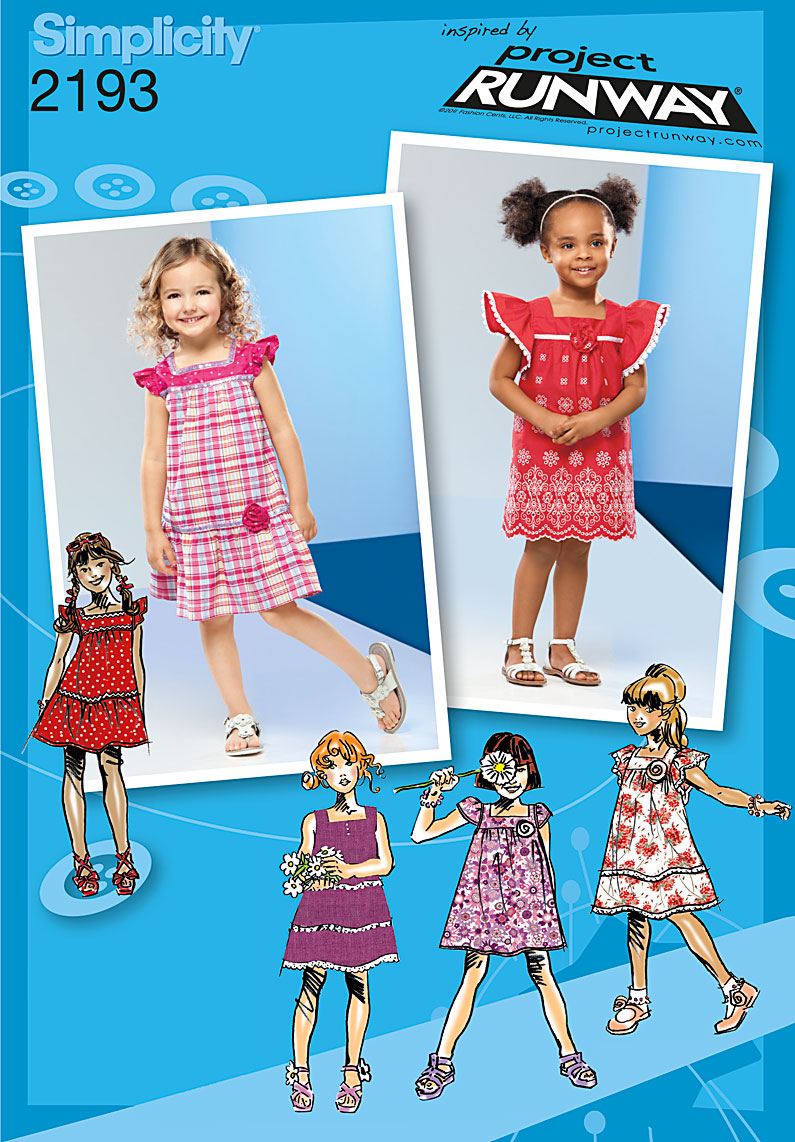 Simplicity 2193 toddlers 39 children 39 s dresses project runway for Children s material sewing