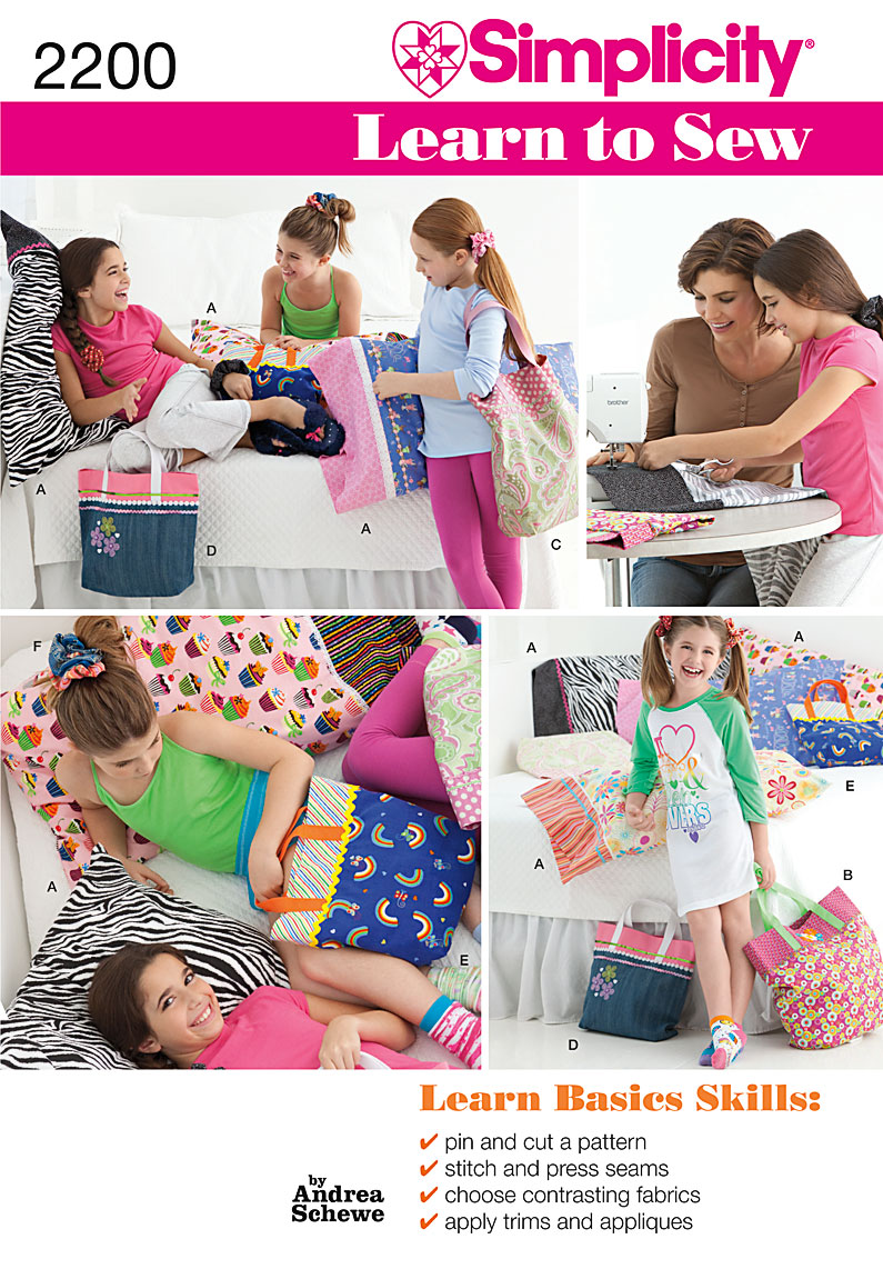 Simplicity 2200 Learn To Sew Pillow Case And Accessories