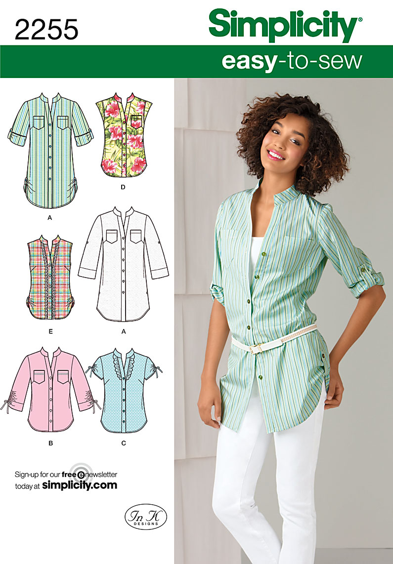 Simplicity 2255 Misses\' Easy to Sew Tunic or Shirt
