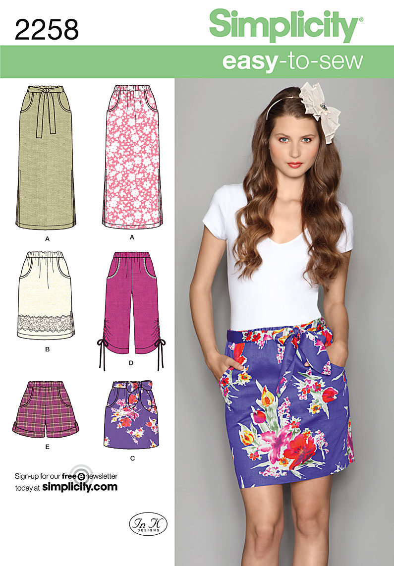 Simplicity 2258 Misses\' Easy to Sew Skirts & Shorts