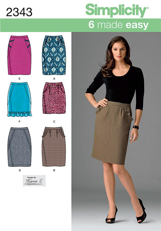 Simplicity 2343 Misses' Skirts