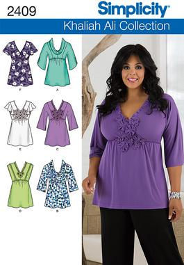 4dd4f3745ca599 Simplicity 2409 Misses or Plus Size Tops