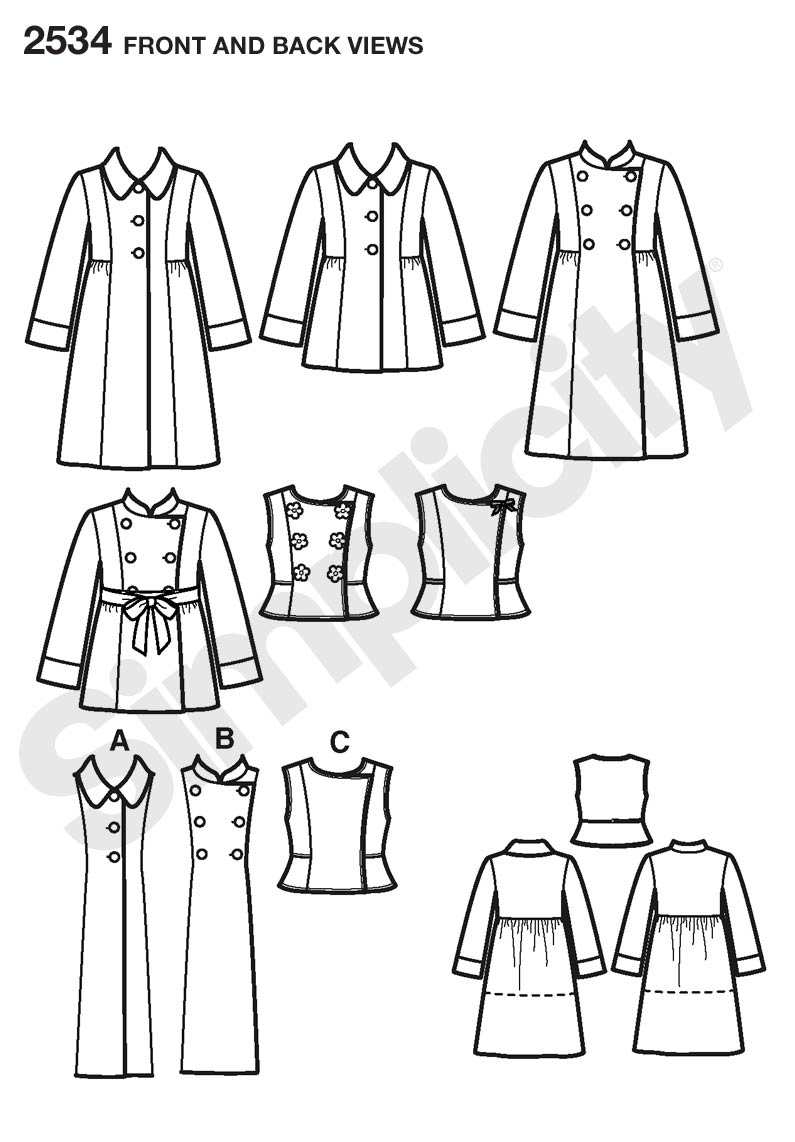 Simplicity 2534 Child Girl Jackets Coats