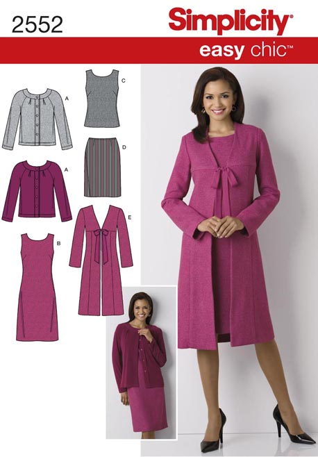 Simplicity 2552 Misses Dress Top Skirt Lined Coat And Knit