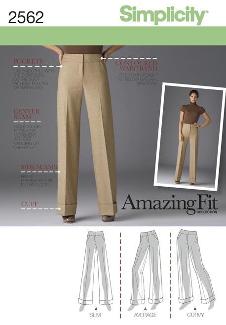 Simplicity 2562 Misses Miss Petite Wide Leg Pants