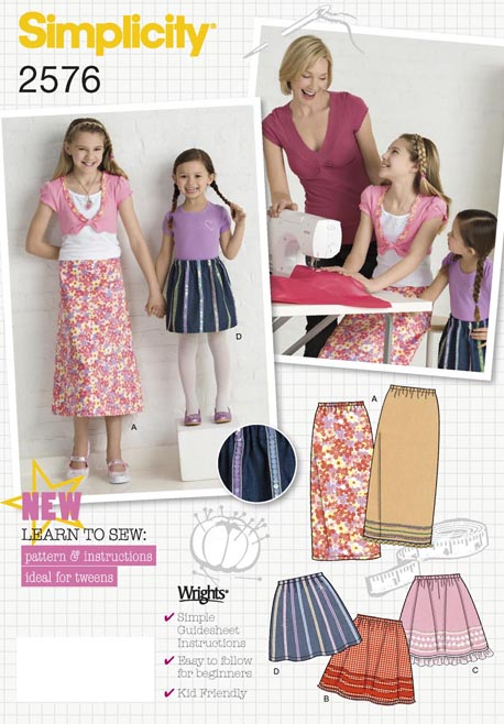 Simplicity 2576 Child or Girl Skirts Learn To Sew Collection