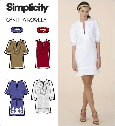 Simplicity 2584 Misses Dress Tunic And Headband Cynthia Rowley