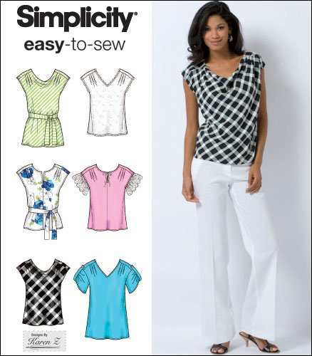 Simplicity 2594 Misses Top and Tie Belt