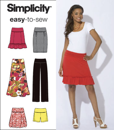 Simplicity 2608 Misses Knit Skirts Pants And Shorts