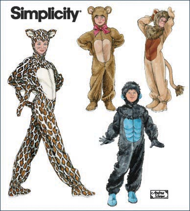 Simplicity 2855 Child Gorilla Lion Bear And Cat Costumes