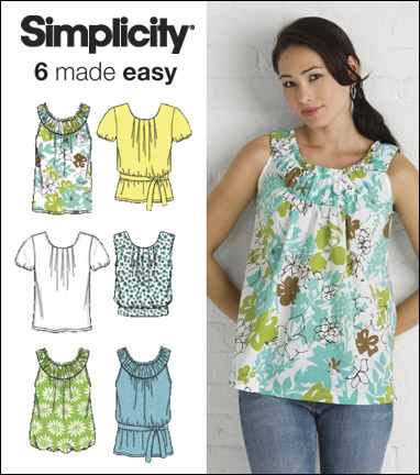 Simplicity 2892 Misses Tops And Tie Belt