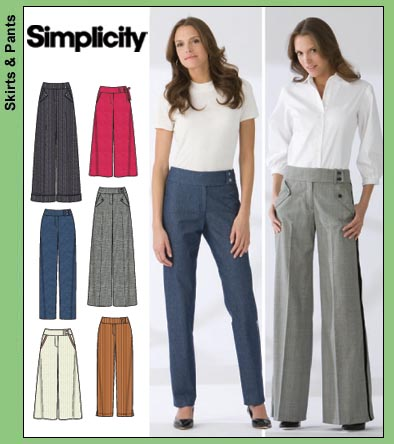 Simplicity 3686 Misses Pants With Slim Wide