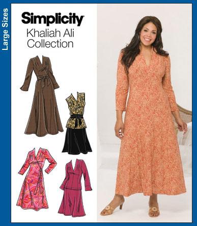 Simplicity 40 Plus Size Khaliah Ali Collecti Classy Plus Size Dress Patterns