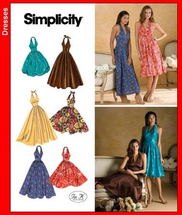 Simplicity 3823 Misses Halter Dresses