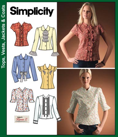 Simplicity 4077 Blouse 3/4 sleeves, tab collar