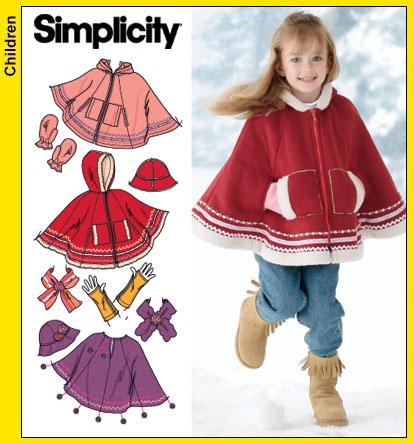 Simplicity 4812 Childs Ponchohatscarf Etc