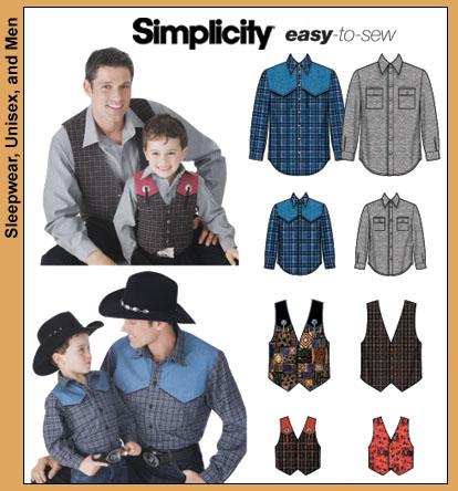 Simplicity 5366 Western Shirtvest Mens Boys