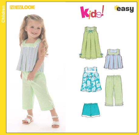 Simplicity 6473 Girls\' Dress/Tops/Pants/Shorts