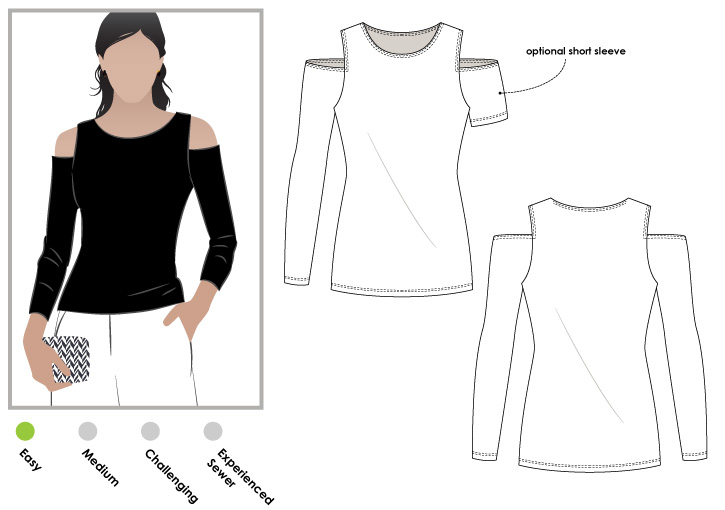 StyleArc Cold Shoulder Knit Top