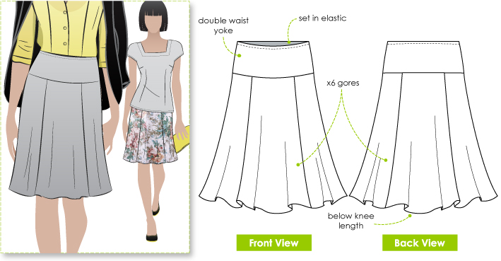 Jersey Knit Skirt Pattern : StyleArc Gorgeous gore skirt