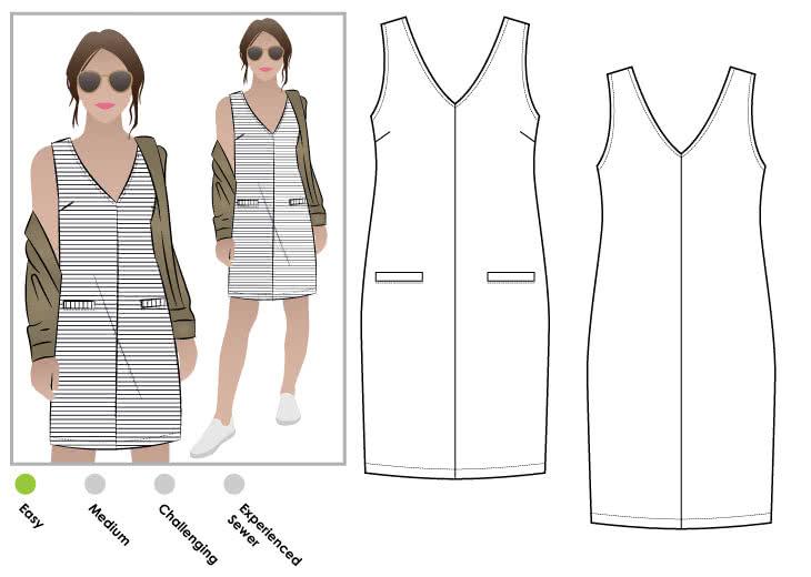 StyleArc Sia Knit Dress Impressive Shift Dress Sewing Pattern