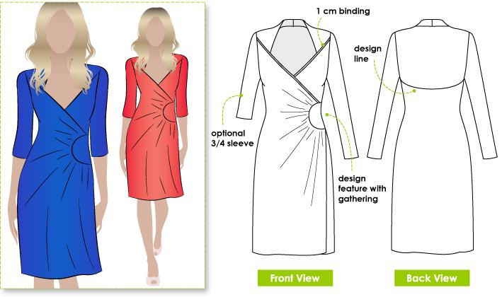 Knitting Pattern Wrap Dress : StyleArc Trixi Knit Wrap Dress