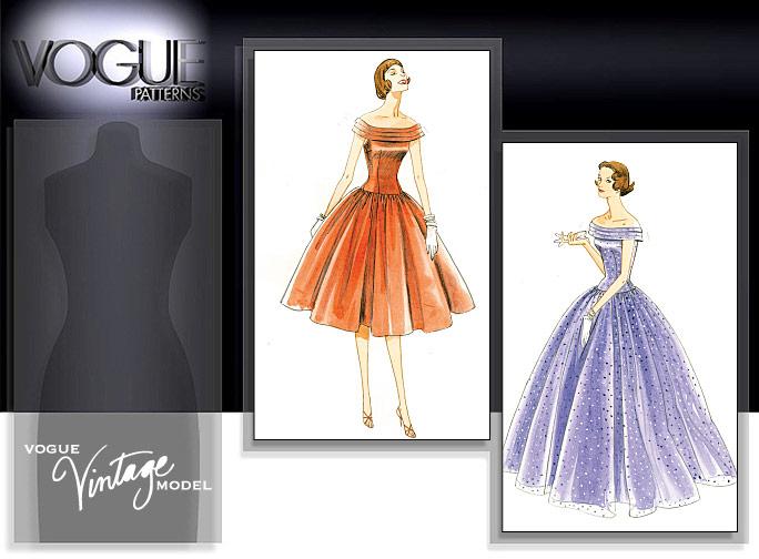 VOGUE VINTAGE 50\'s MODEL 1955 WEDDING DRESS BALL GOWN SEW PATTERN ...