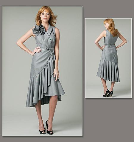 Vogue Patterns 1232 Misses Dress Flower And Belt