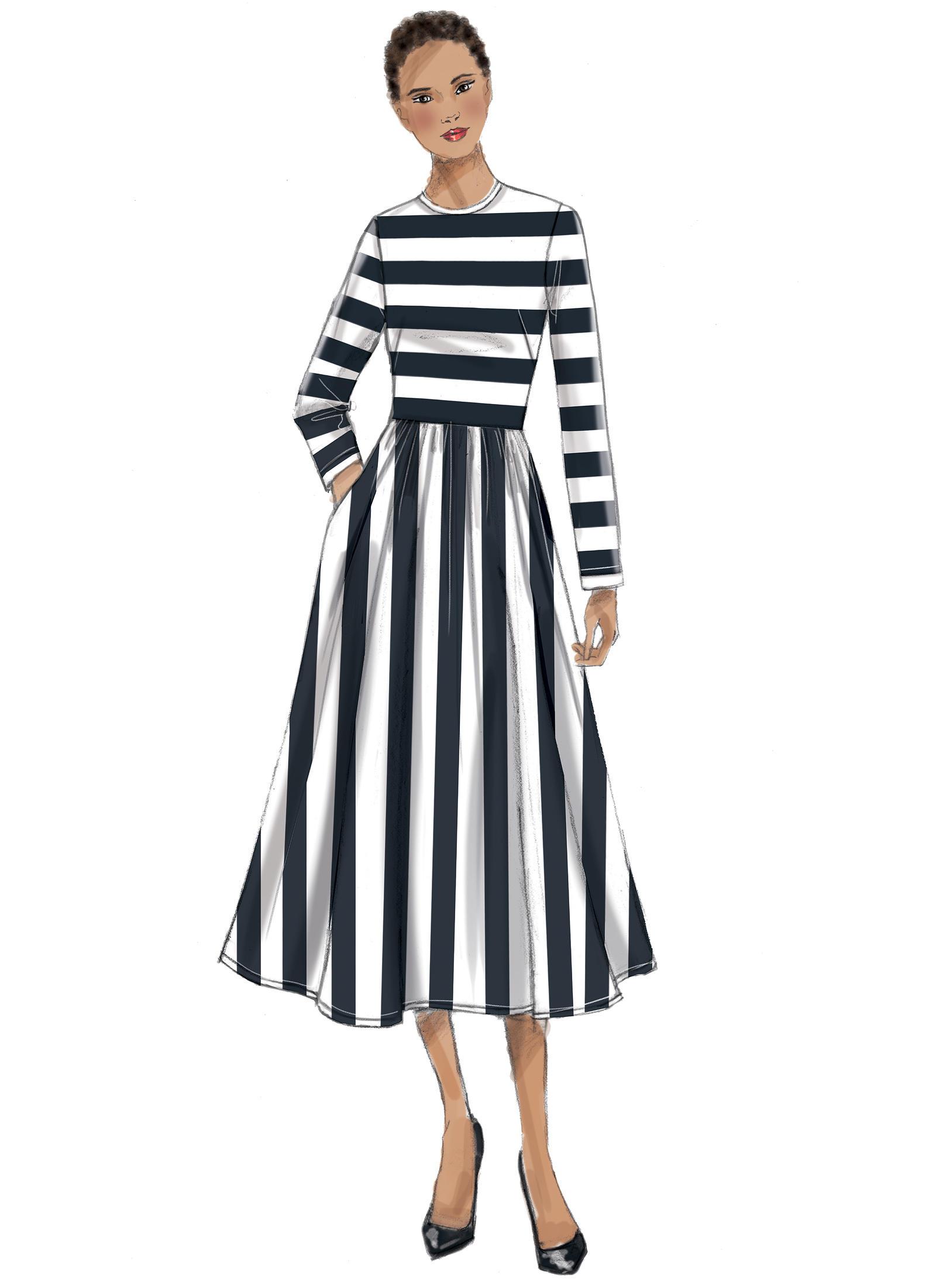 Vogue Patterns 9197 MISSES' JEWEL-NECK, GATHERED-SKIRT DRESSES