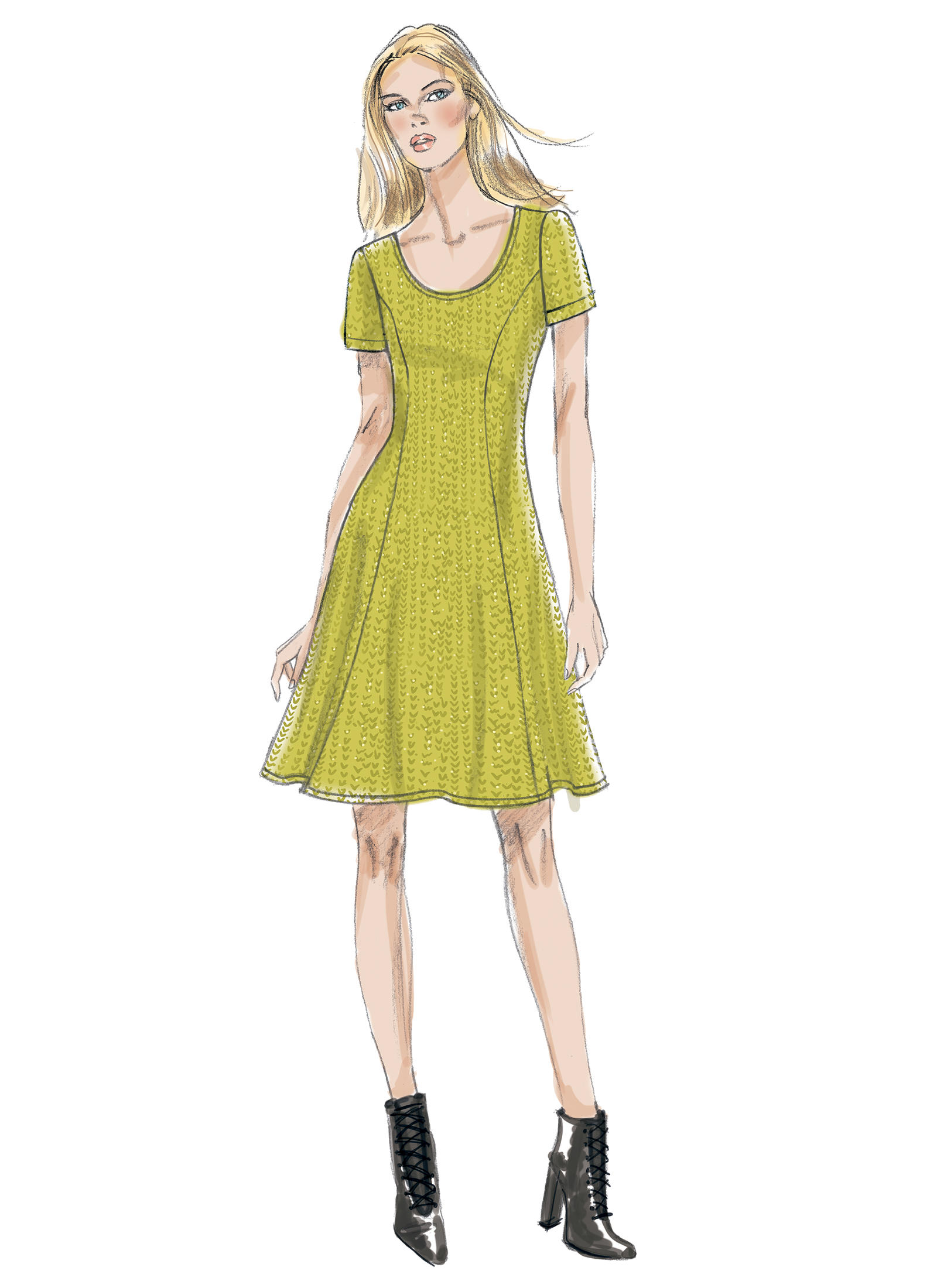 Vogue Patterns 9199 MISSES\' KNIT FIT-AND-FLARE DRESSES