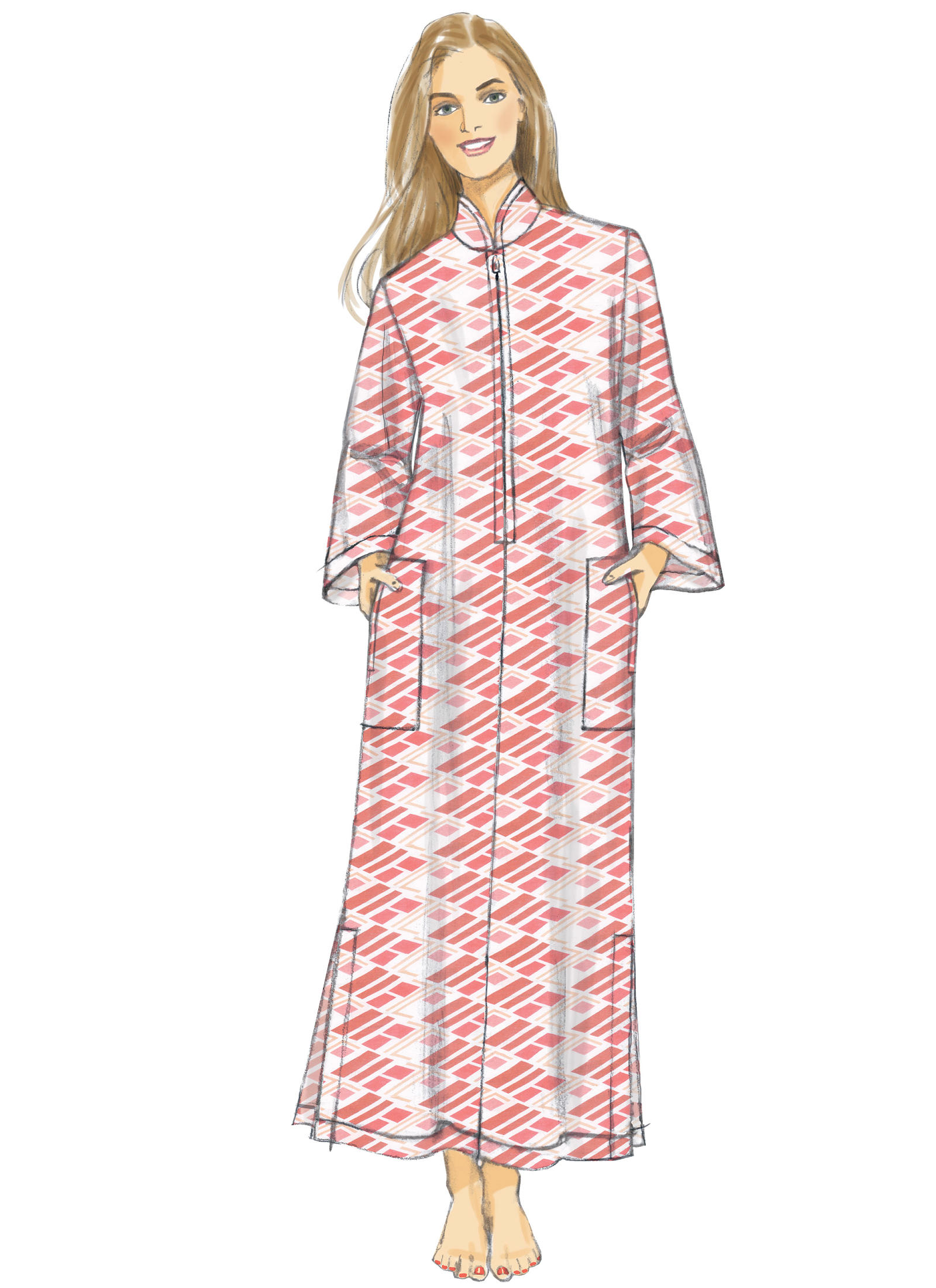 Vogue Patterns 9232 MISSES' ZIP-FRONT, DOLMAN SLEEVE CAFTANS