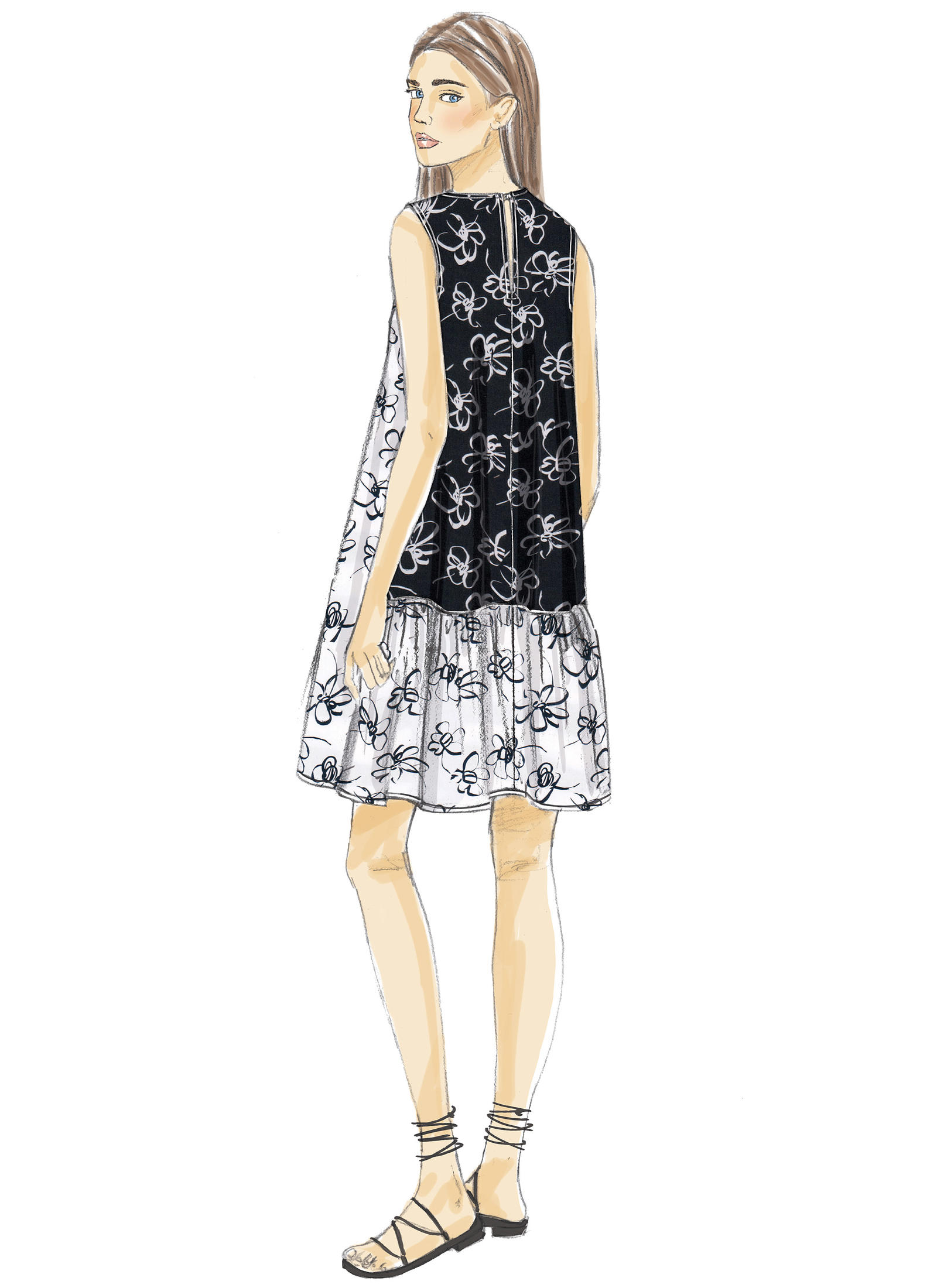 Vogue Patterns 9237 MISSES' A-LINE, BACK-RUFFLE DRESSES