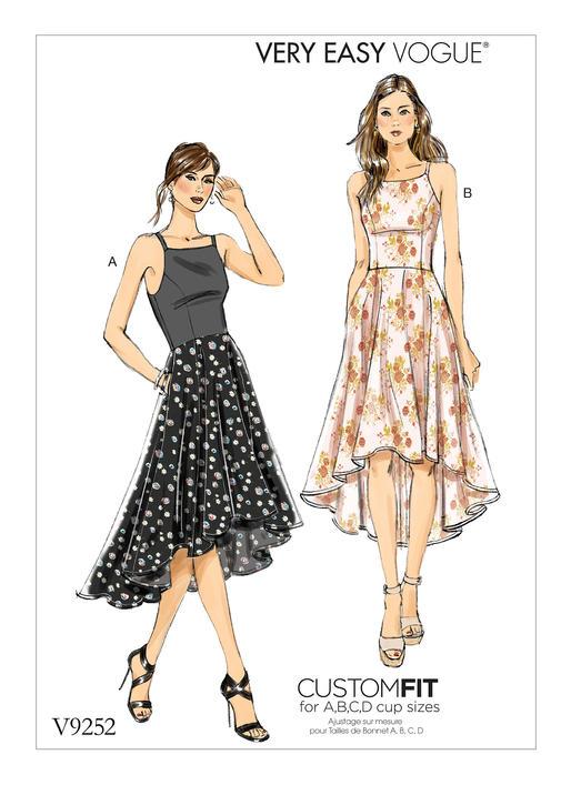 Vogue Patterns 9252 MISSES\' PRINCESS SEAM HIGH-LOW DRESSES WITH POCKETS