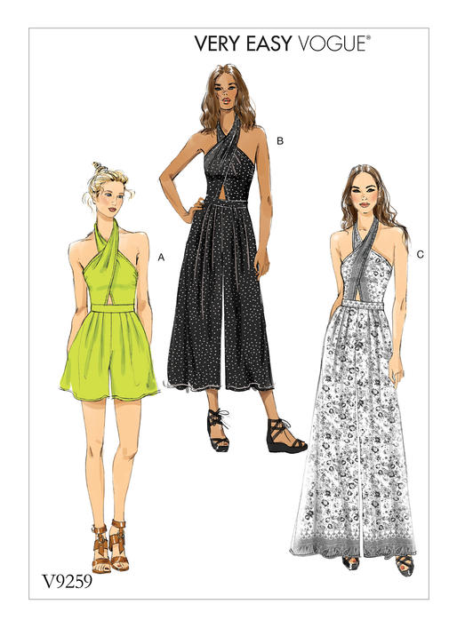 Vogue Patterns 9259 MISSES\' CRISS-CROSS HALTER ROMPER AND JUMPSUIT ...