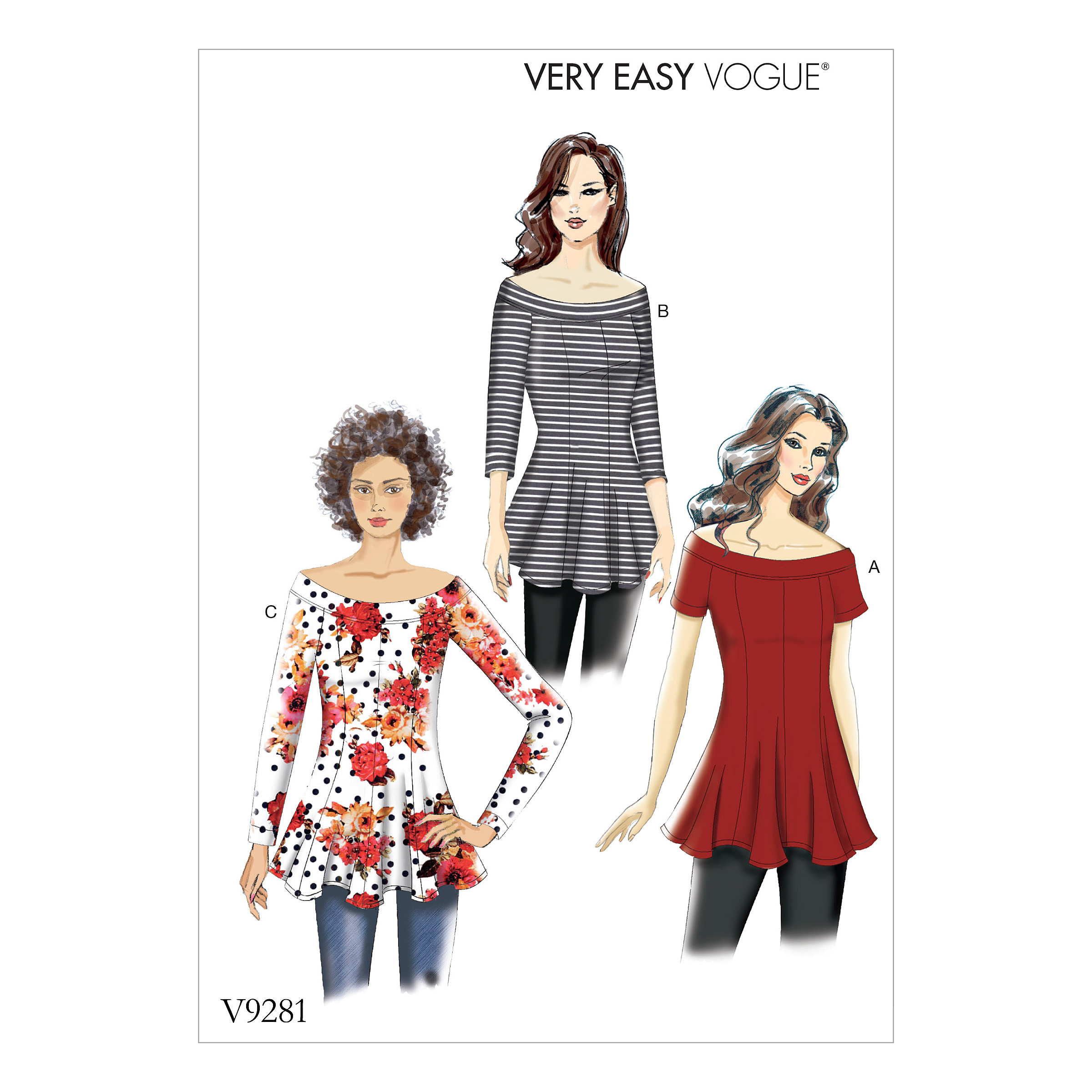 Vogue Patterns 9281 MISSES\' KNIT FLARE-AND-FLARE TOP