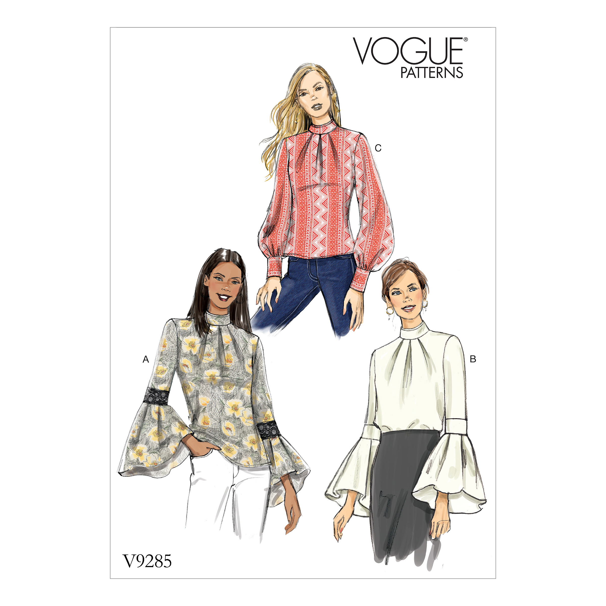 efb8f3cef9 Vogue Patterns 9285 MISSES' TOP WITH SLEEVE AND CUFF ...