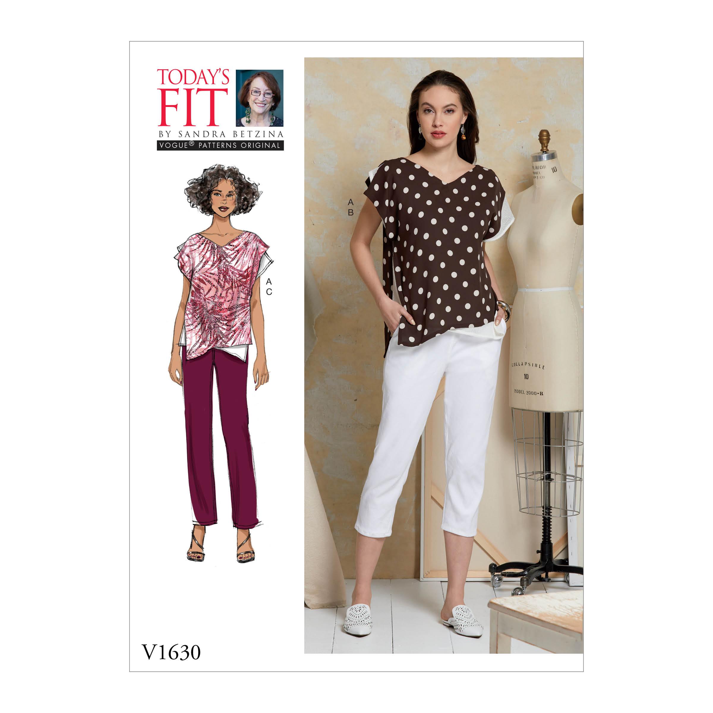 1d48f25472 Vogue Patterns 1630 MISSES' TOP AND PANTS
