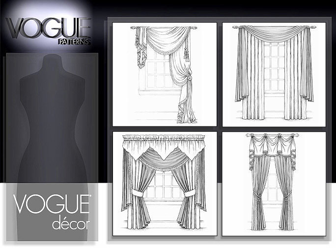 Vogue patterns 7984 window treatments for Professional window treatment patterns