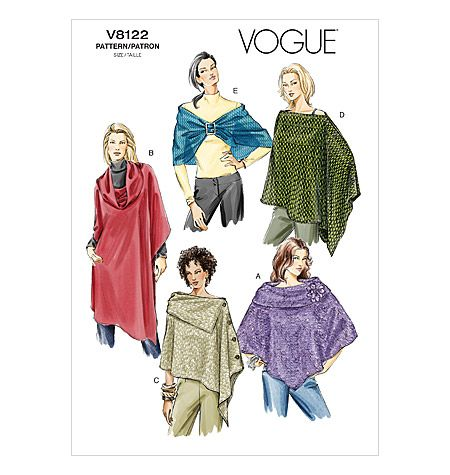 Vogue Patterns 8122 Capes, poncho and wrap
