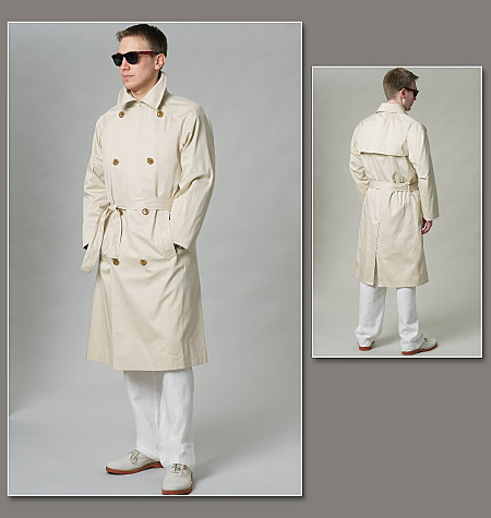 Vogue Patterns 40 Men's Coat And Belt Adorable Mens Trench Coat Pattern
